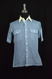 Blue and White Gingham Check Shirt