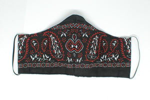 Red and Black Paisley Face Mask