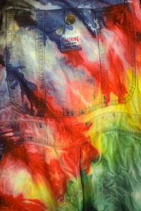 Reworked Tie Dye Long Denim Overalls