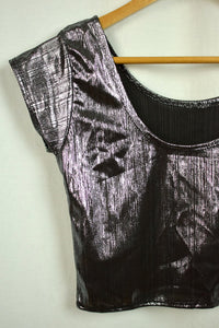 NEW Shimmer Silver Ladies Crop Top