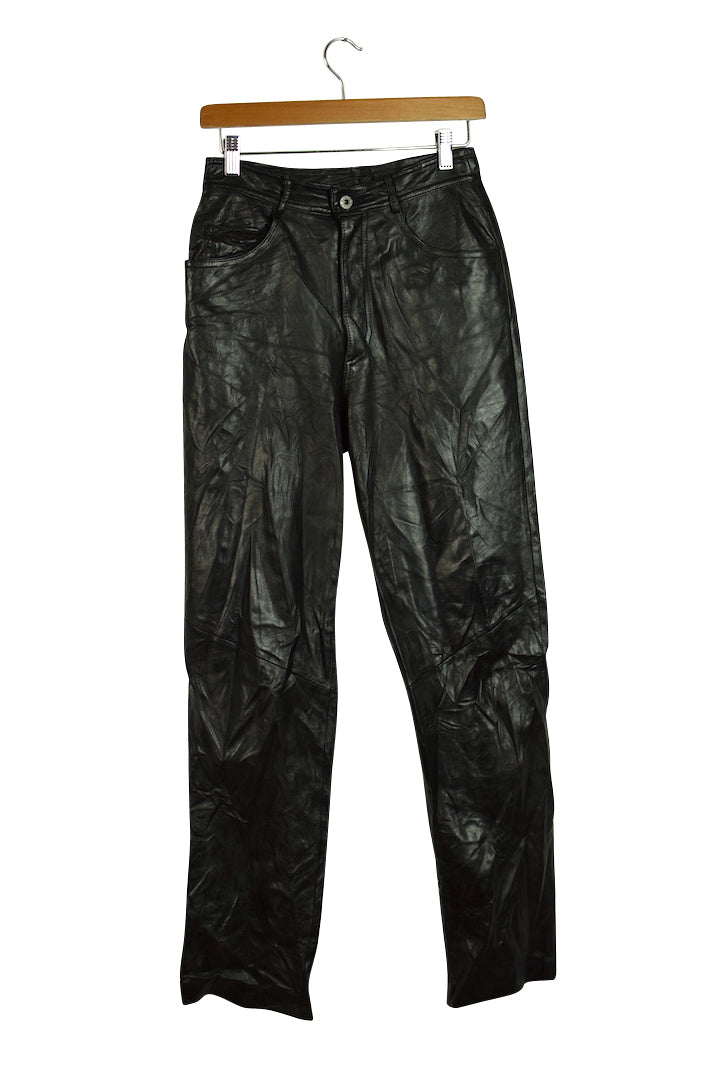 Ladies Black Leather Pants