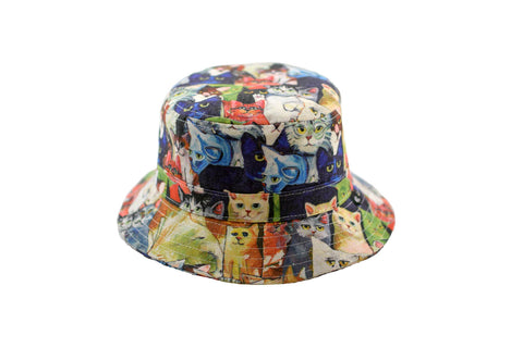 NEW Multicoloured Cat Print Bucket Hat