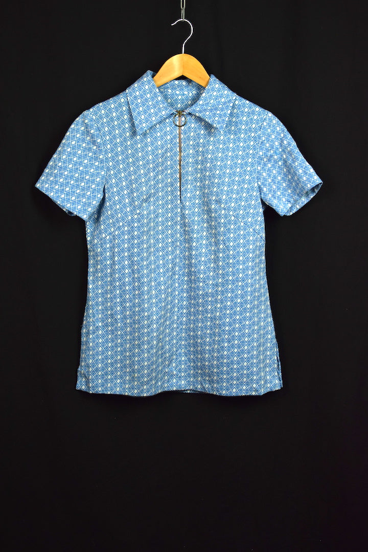 60's Blue and White Polyester Print Top