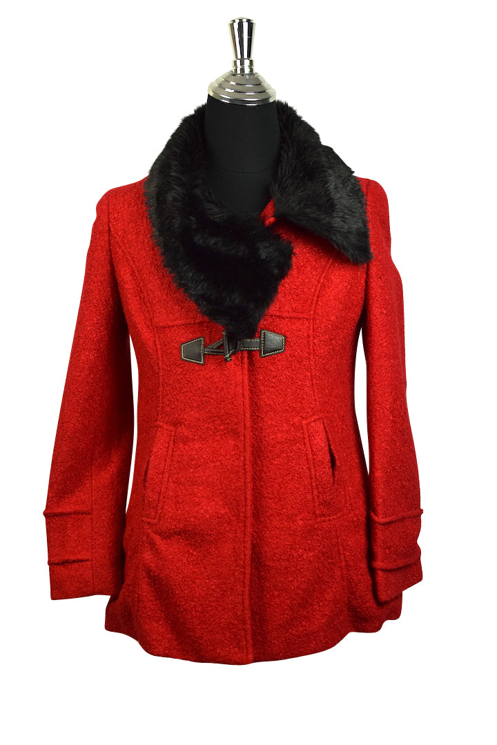 Red Coat with Faux Fur Collar