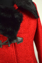 Load image into Gallery viewer, Red Coat with Faux Fur Collar