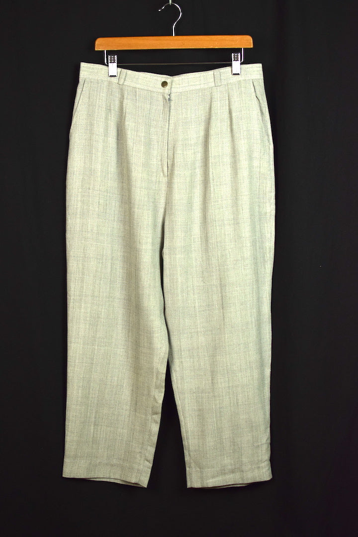 Reworked High-Waisted Light Grey Check Pants