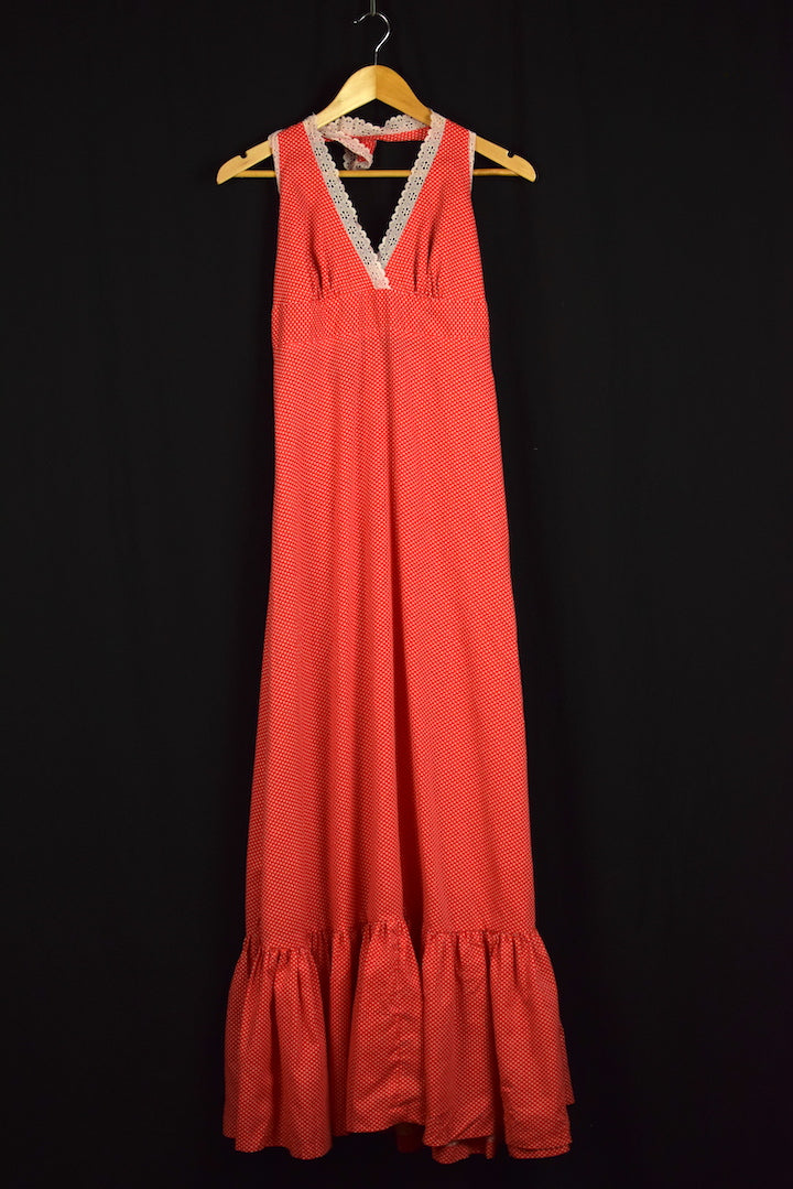 1970s David Brooks Brand Polk Dot Halter Maxi-Dress