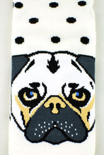 Load image into Gallery viewer, NEW White and Black Polkadot Pug socks