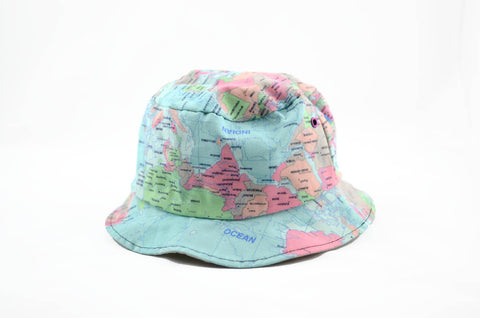 c32ed22cb6a NEW World Map Print Bucket Hat – RetroStar Vintage Clothing