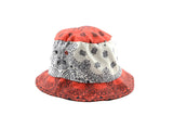 Red and white paisley bucket hat