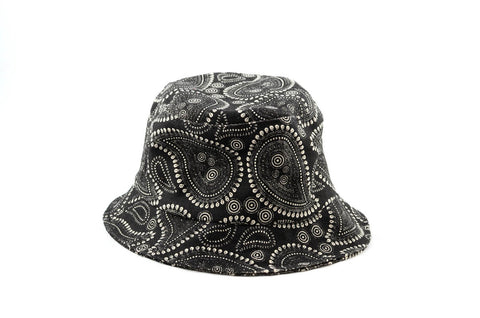 NEW Black and White Paisley Print Bucket Hat