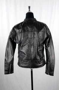 Reworked Black Leather Bikers Jacket