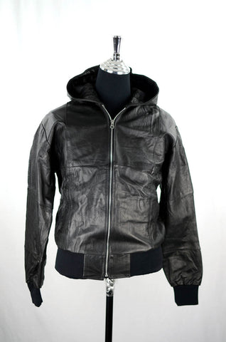 Reworked Black Leather Hooded Bomber Jacket