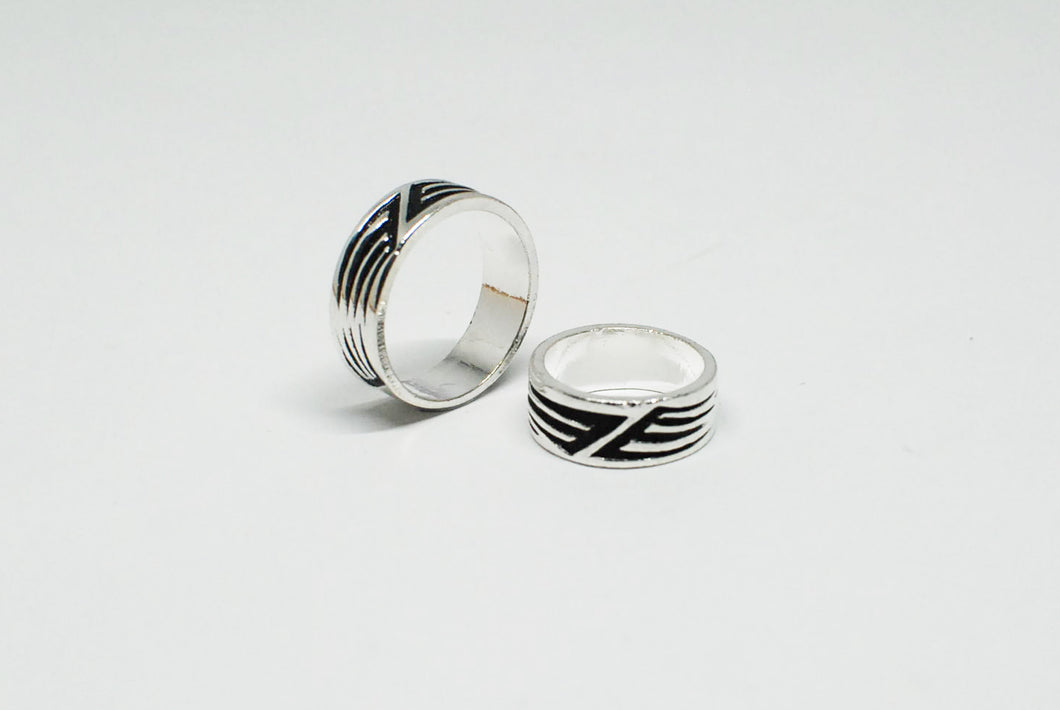 Stainless Steel Ring Abstract Line Design