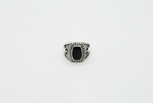 Silver Oval Black Stone Signet Ring