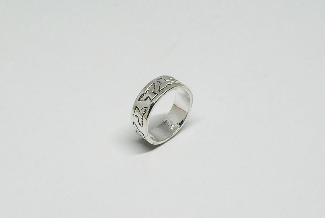 Stainless Steel Ring with Abstract Bird Design