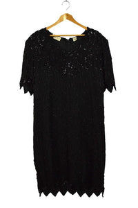 Sequined and Beaded Black Evening Dress