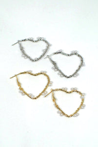 Heart Shaped Earrings with Wired Pearl Detail