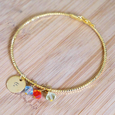 Birthstones Bangle with Personalized Tags