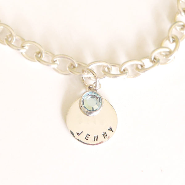 Personalized Birthstone Sterling Bracelet