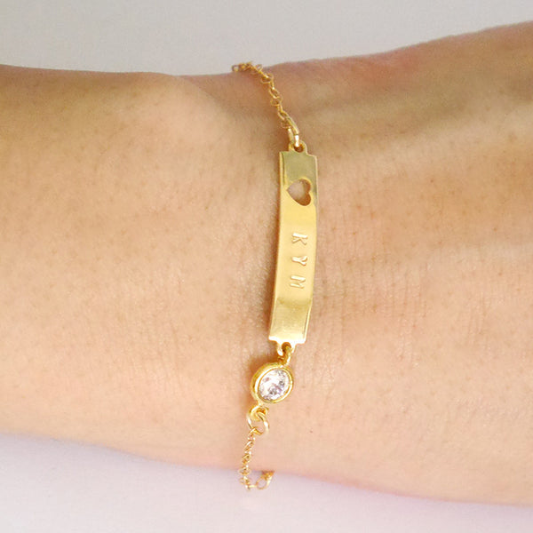 Personalized Gold Filled Bracelet With Heart