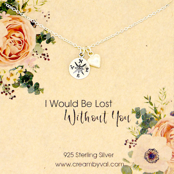 i would be lost without you compass necklace