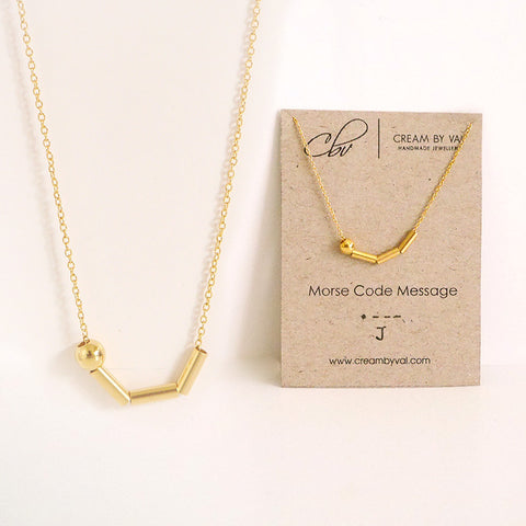 Morse Code Necklace Gold