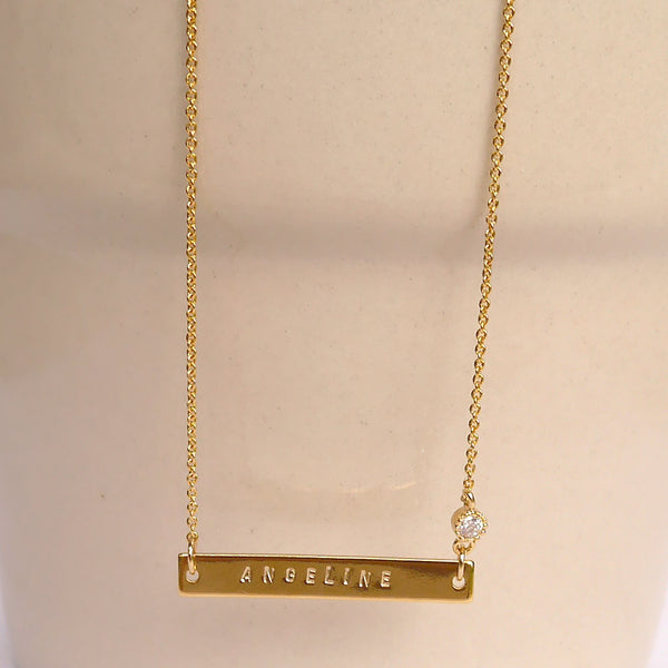 Gold Name Plate Necklace with CZ
