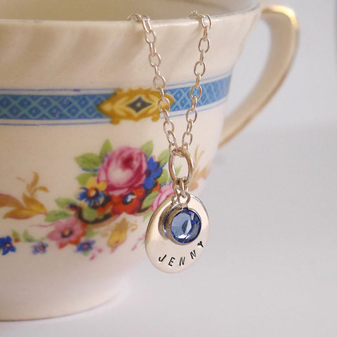 Birthstone Round Tag Necklace