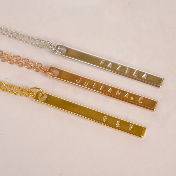 Rose Gold Skinny Bar Necklace