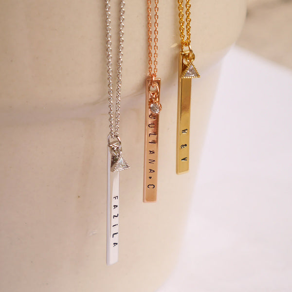 Gold Skinny Bar Necklace with Triangular CZ