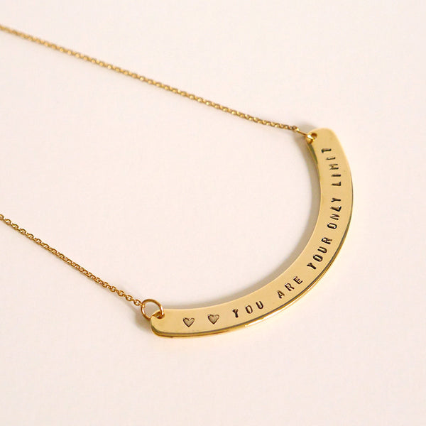 Personalized Curve Bar Necklace Gold