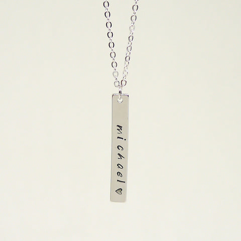 Unisex Silver Name Bar Necklace