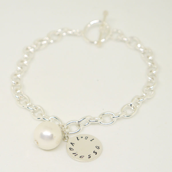 personalized pearl sterling bracelet