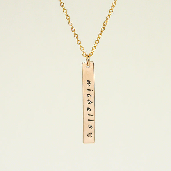 223a12c2a852b Unisex Rose Gold Name Bar Necklace