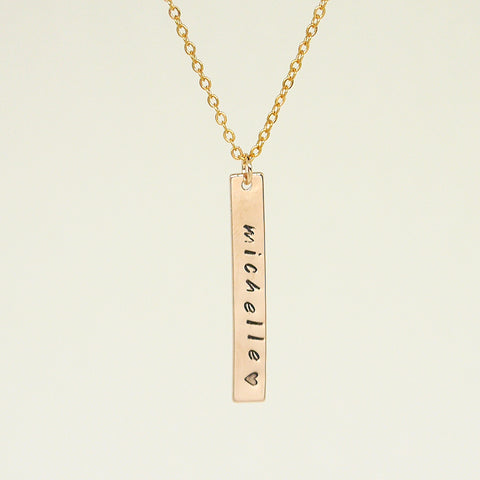 Unisex Rose Gold Name Bar Necklace