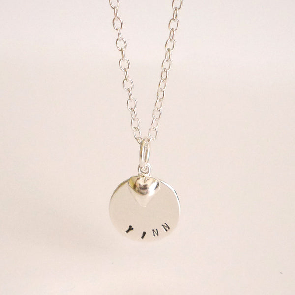 Round Tag Necklace With Heart Charm