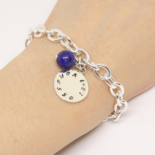 Sterling Name Bracelet With Blue Lapis