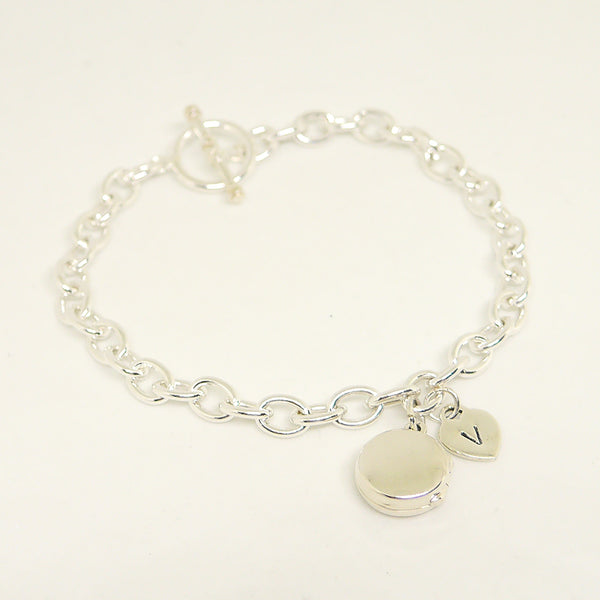 Initial Sterling Bracelet With Round Locket
