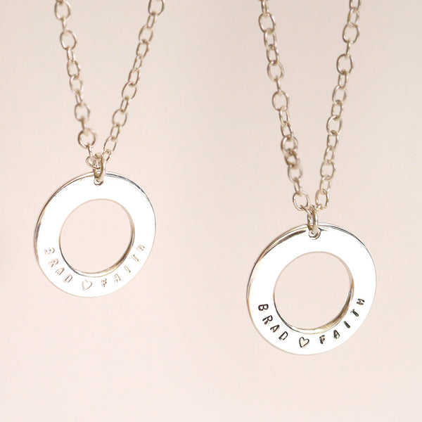 Unisex Personalized Sterling Round Necklace