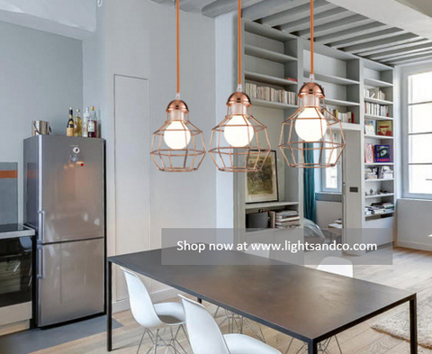 QUINCY Caged Pendant Light @ www.lightsandco.com