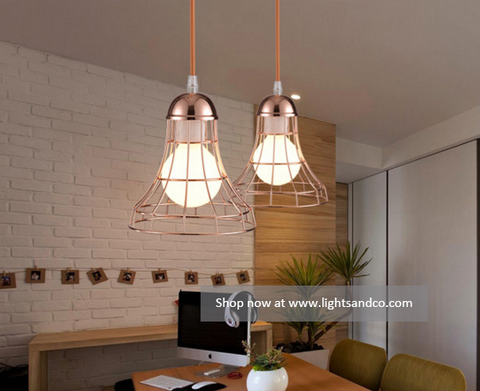 QUINCY Caged Pendant Lights @ www.lightsandco.com