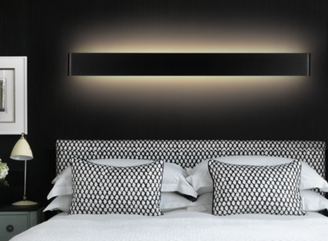LOMAR Sleek Wall Lamp in Black (111cm)