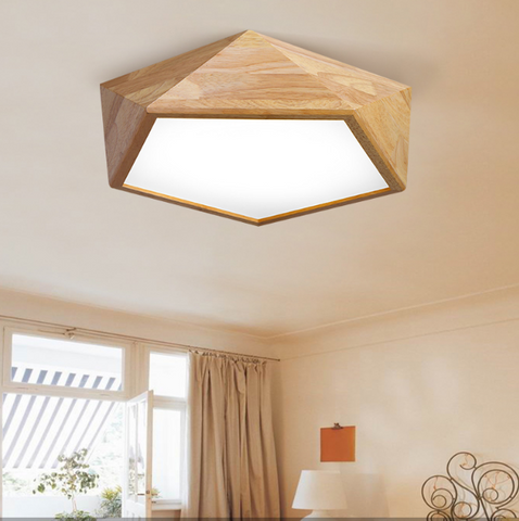 LEXA Geometric LED Ceiling Light in Wood (42cm) with Safety Mark LED Driver (Pre-order)