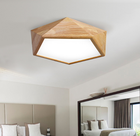 LEXA Geometric LED Ceiling Light in Wood (42cm) with Safety Mark LED Driver