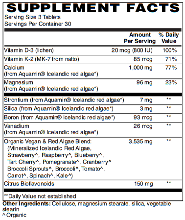 BariatricPal Algae Based Calcium 1,000mg Tablets with Magnesium, D3 and K2 - Vegan Approved!