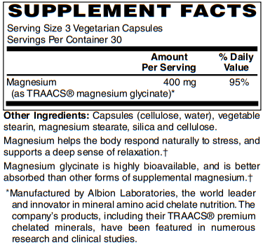 BariatricPal Magnesium Glycinate (400mg) Vegetarian Capsules - Supports Calmness & Relaxation