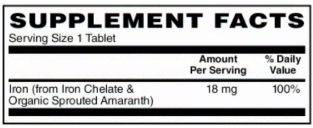 BariatricPal Iron Chelate (18mg) - Certified Organic & Certified Vegan Whole Food (60 Well Absorbed & Non-Irritating Tablets)