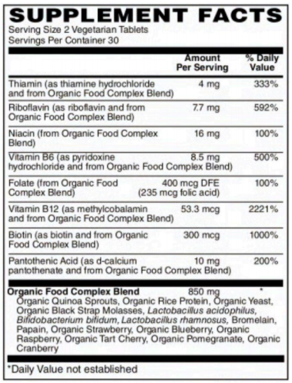 BariatricPal B-Complex - Certified Organic Whole Food & Certified Vegan! (60 Tablets)