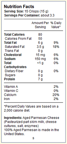 "Gourmet all Aged Parmesan Cheese ""Mini"" Crisps by Kitchen Table Bakers (1.75 Oz)"